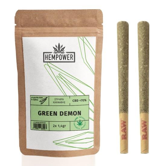 Hempower Pre-Rolled Stick Green Demon CBD < 70%  2pcs